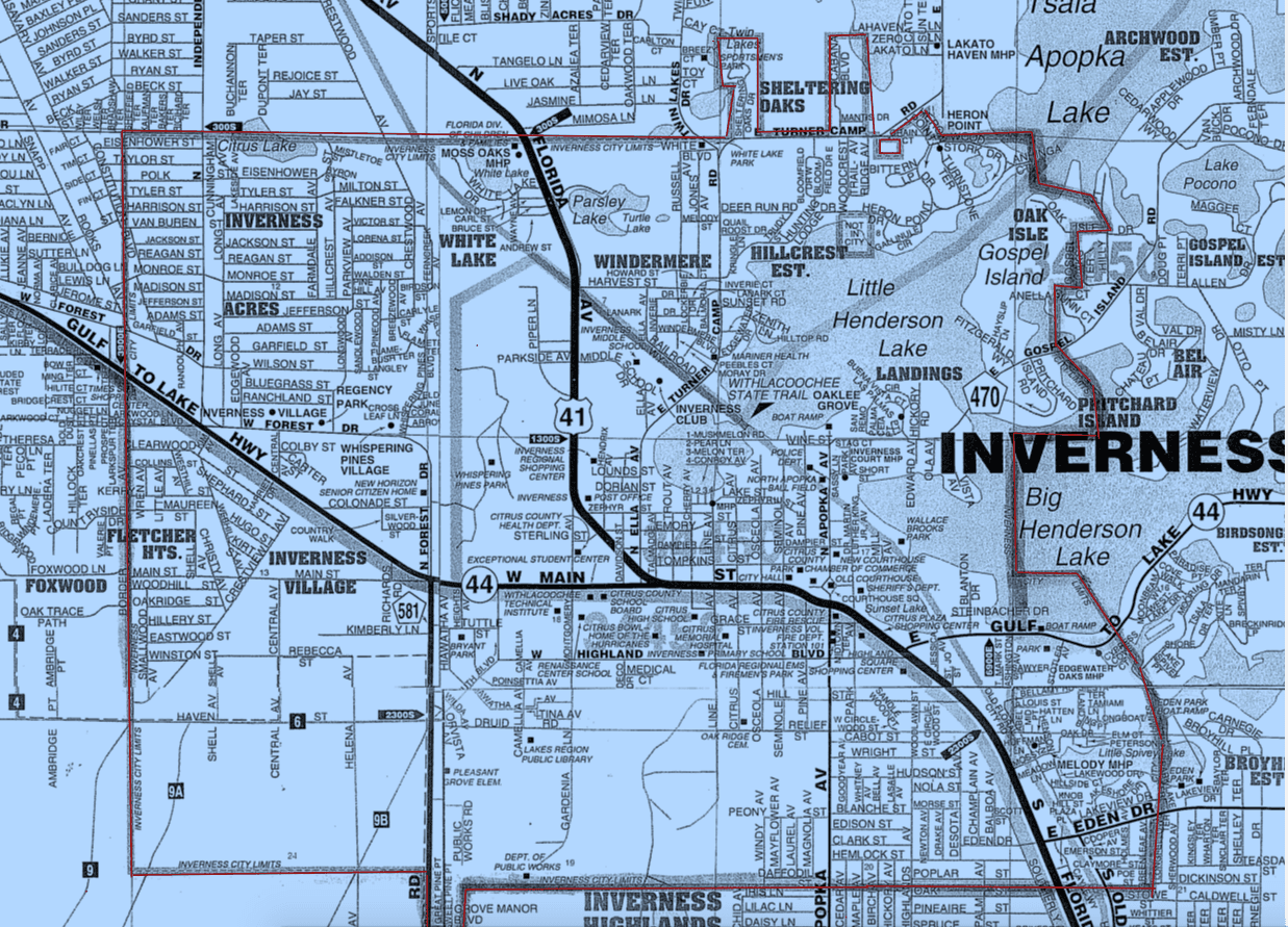 Inverness Florida City Limit Map