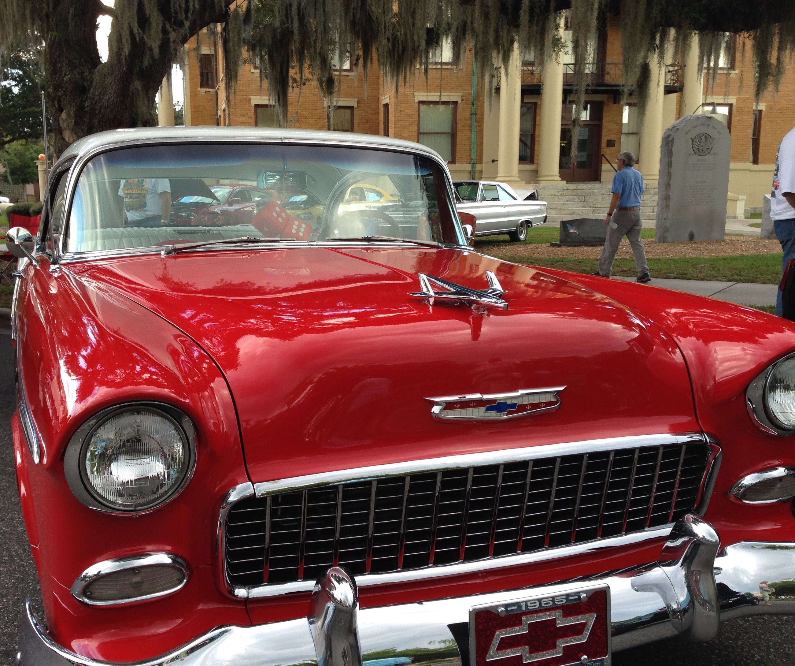 red car at courthouse